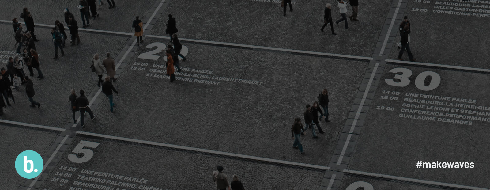 image of people walking across marketing statistics