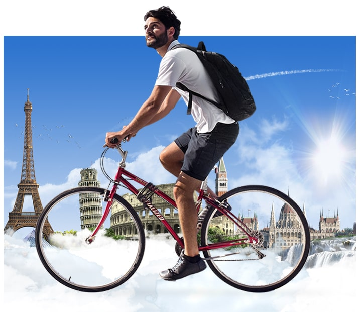 image of man cycling on clouds